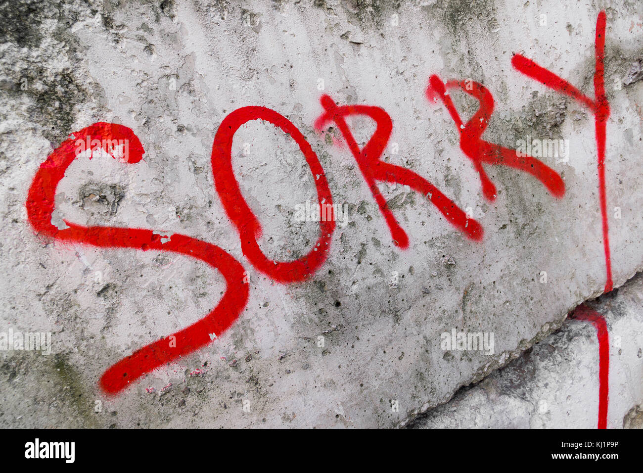 Sorry inscription painted - Stock Image