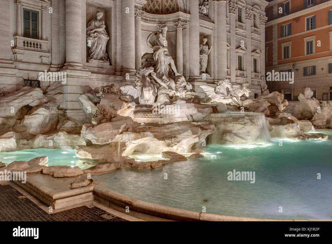 Tevi Fountain Rome - Fontana di Trevi, Rome Stock Photo