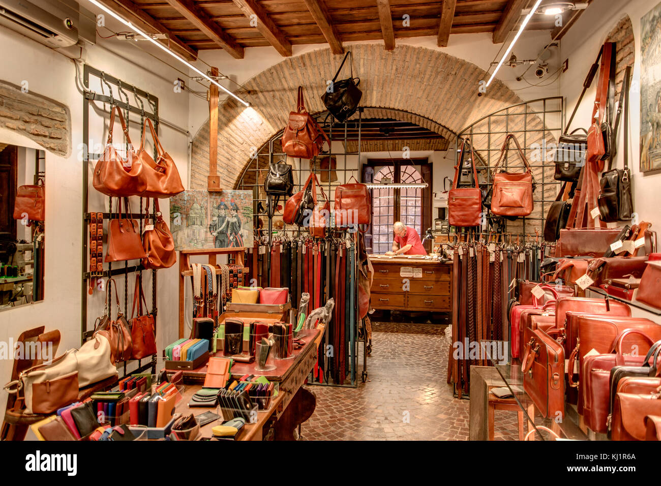 Leather Shop and Leathersmith in Rome Stock Photo