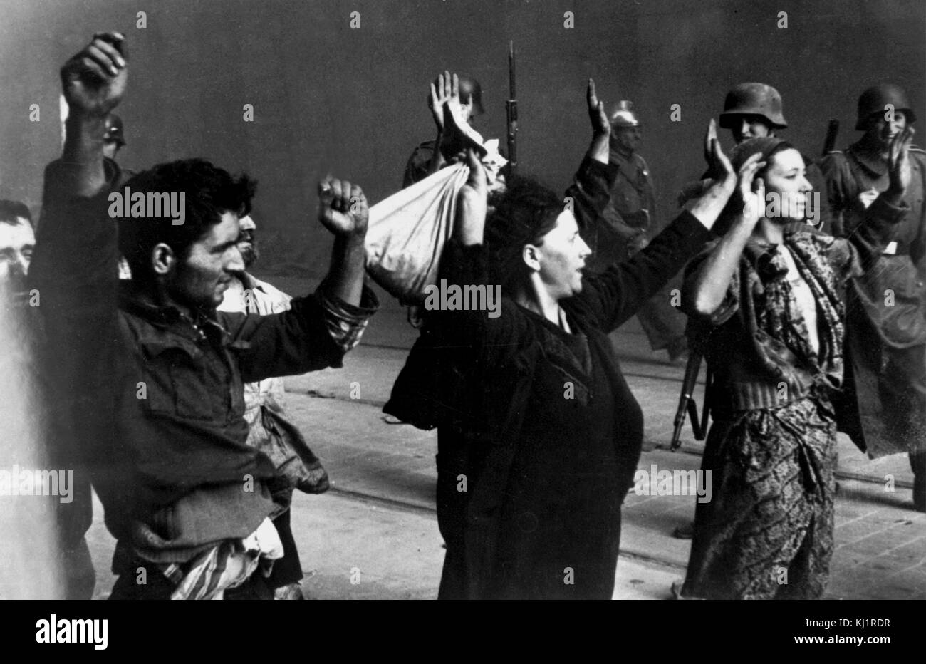 Polish Jewish resistance women, captured after the destruction of the Warsaw Ghetto in 1943. Stock Photo