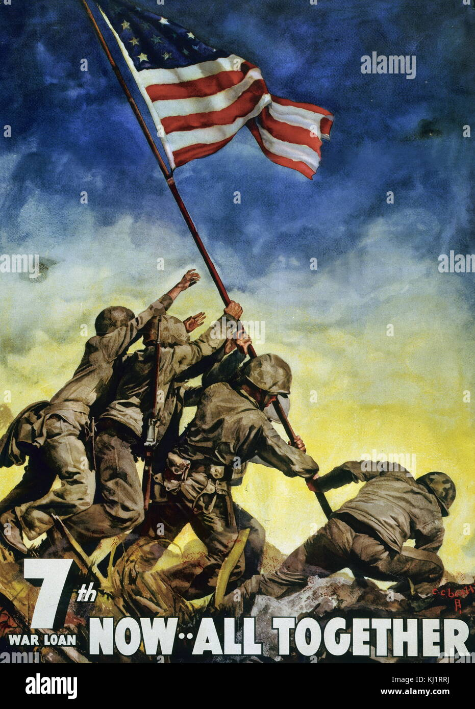 World War Two commemorative propaganda poster, showing U.S. Marines raising flag at Iwo Jima, during the advance - Stock Image