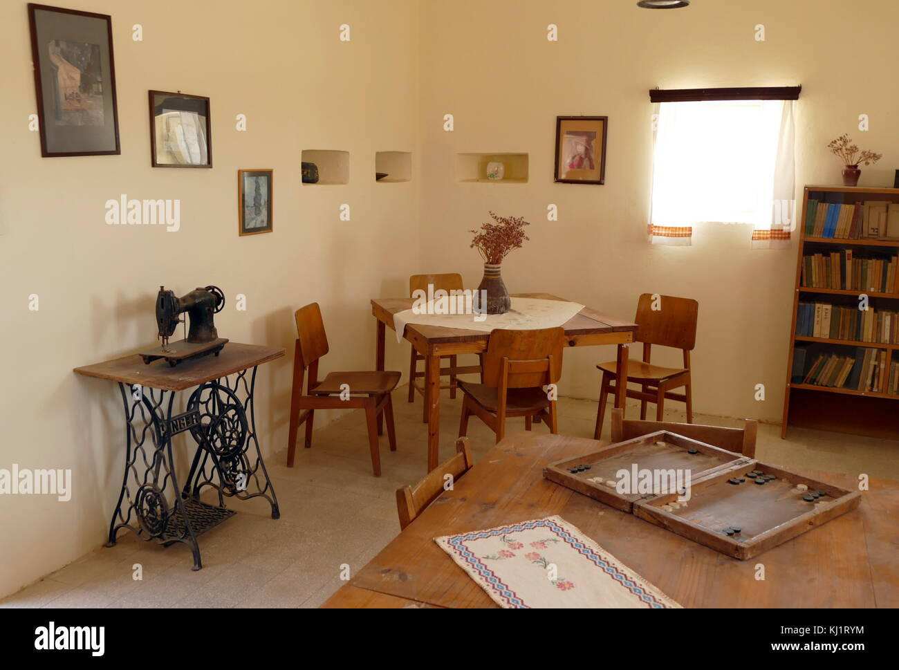 Restored room at kibbutz Revivim, in the Negev desert in southern Israel. The community was formed in 1943 and during - Stock Image