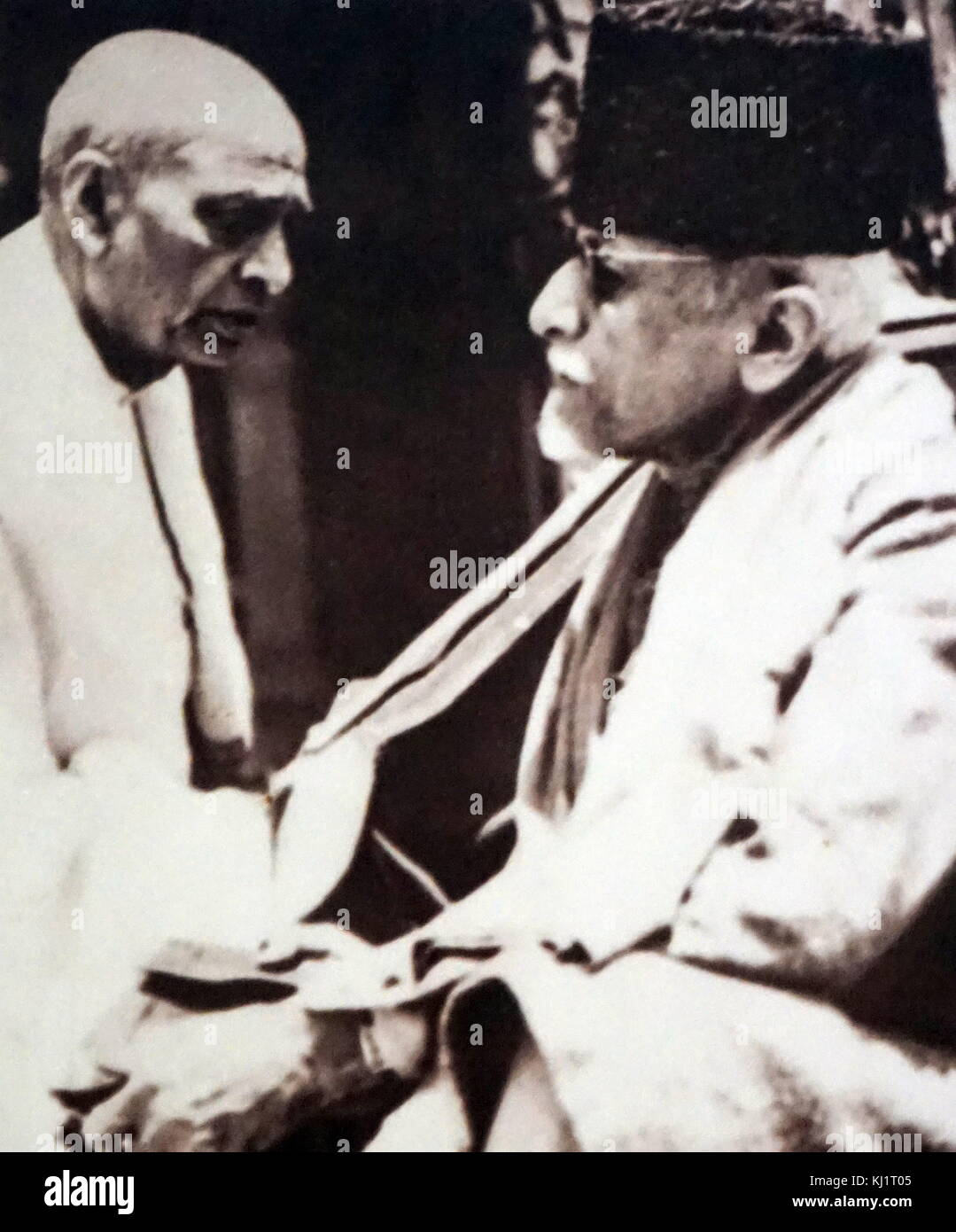 Sardar Patel, a prominent leader of the Indian independence movement with Maulana Azad, the senior Muslim leader - Stock Image