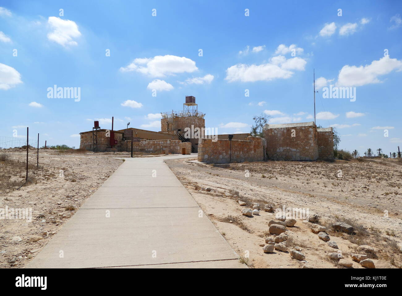 Old fortress at kibbutz Revivim, in the Negev desert in southern Israel. The community was formed in 1943 and during - Stock Image
