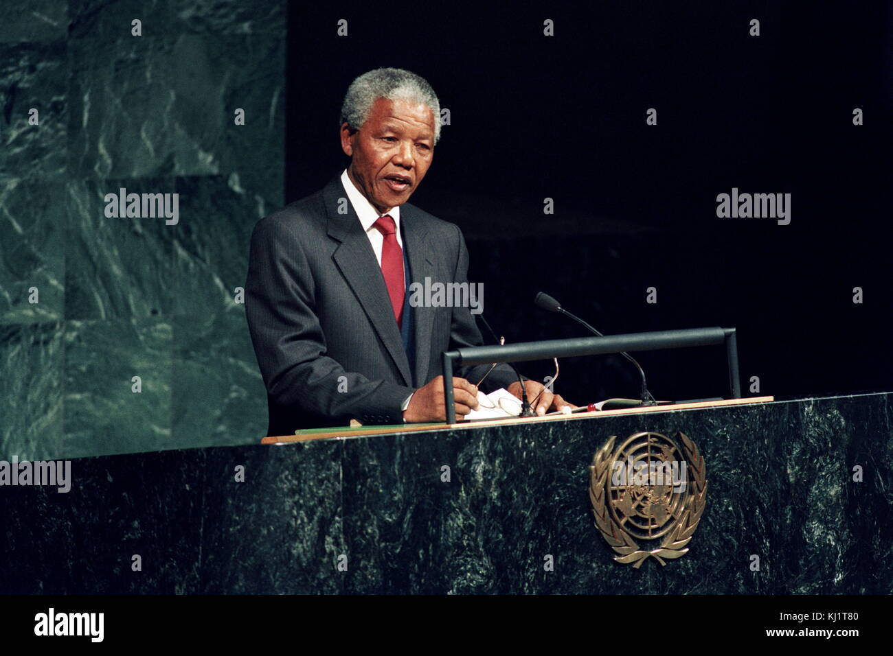 Nelson Rolihlahla Mandela (1918 – 2013); South African anti-apartheid politician; served as President of South Africa Stock Photo
