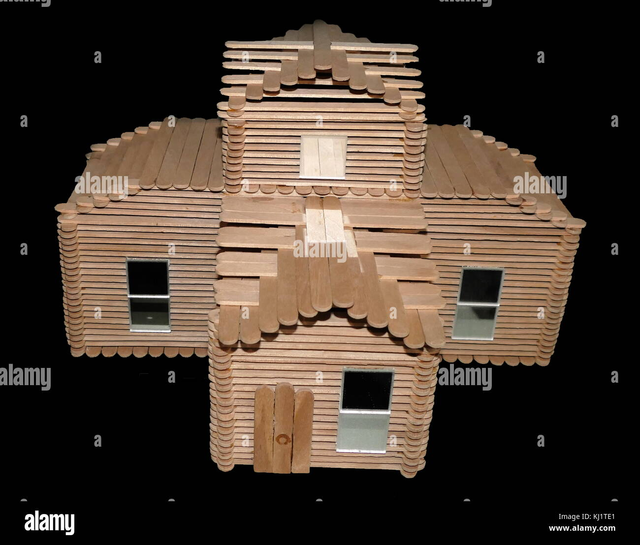Dolls House made from lollipop sticks 1978 - Stock Image