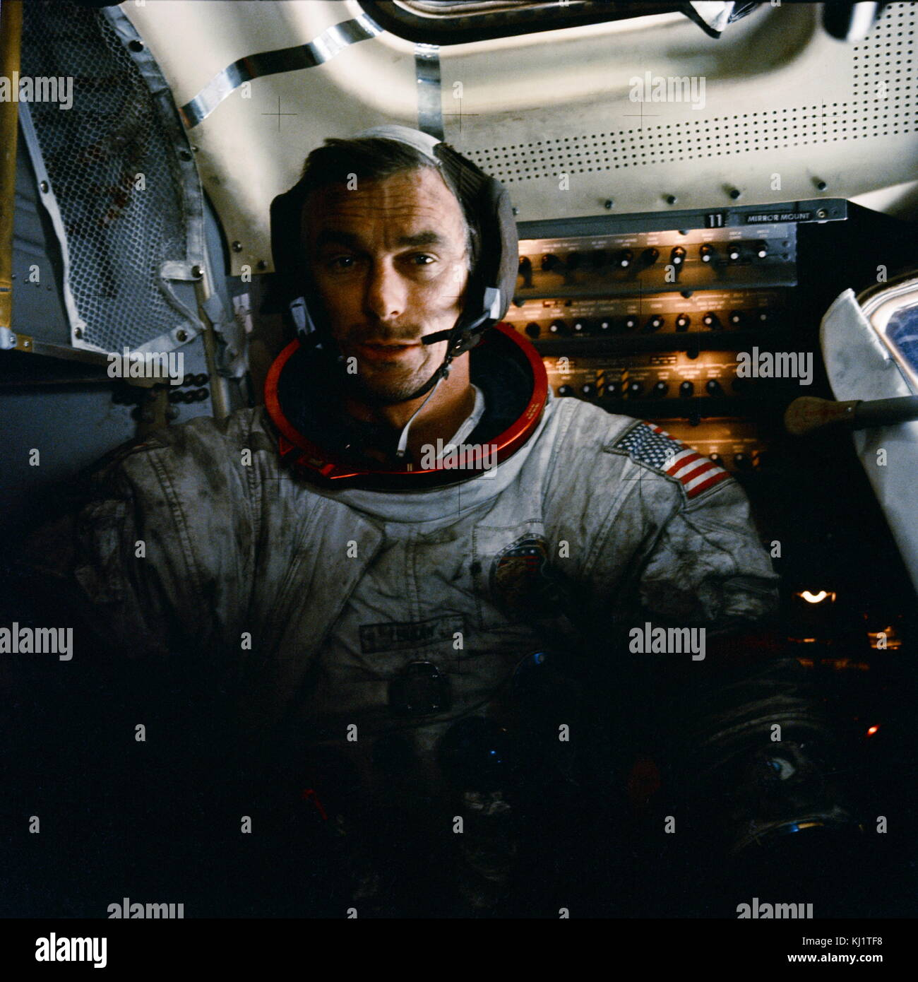 Apollo 17 mission commander Eugene Cernan inside the lunar module on the moon after his second moonwalk of the mission. - Stock Image