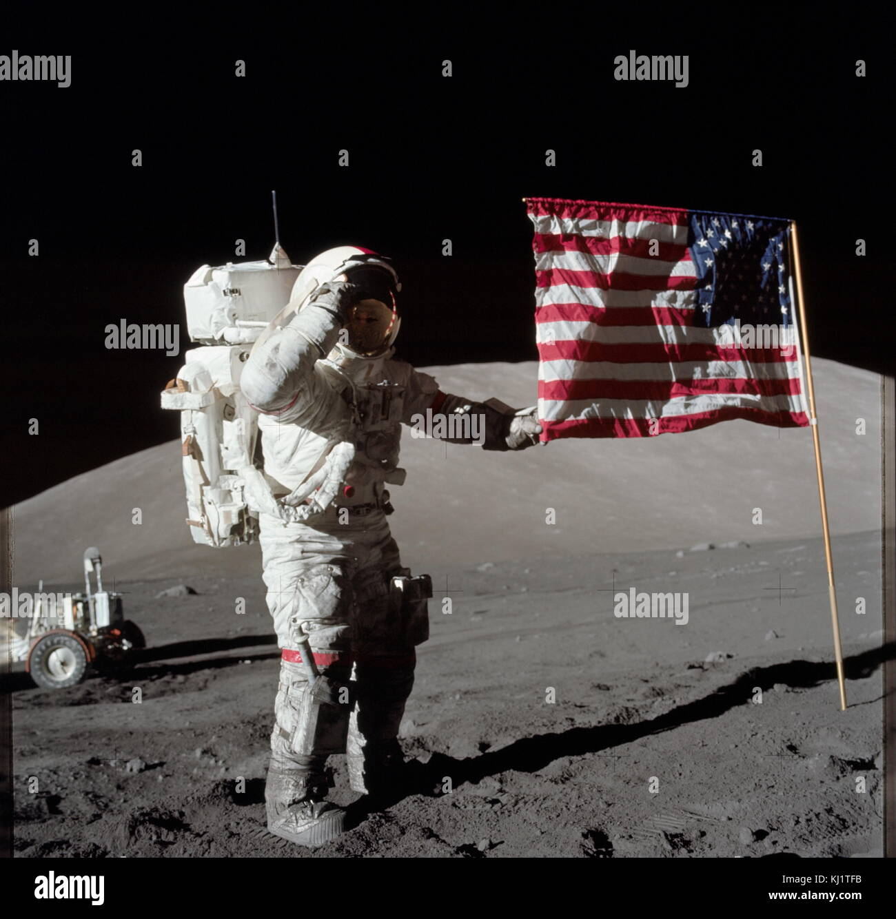 Apollo 17 mission commander Eugene Cernan after his second moonwalk of the mission. Apollo 17 was the final mission - Stock Image