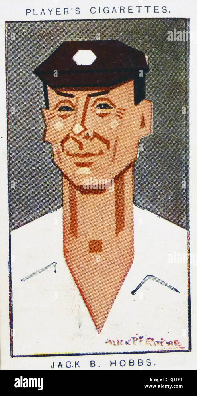 Player's cigarette card depicting Sir John Berry 'Jack' Hobbs (1882-1963) was an English professional - Stock Image