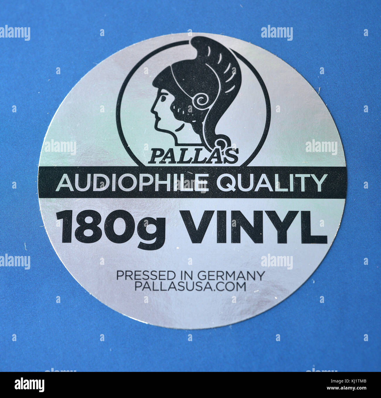 A sticker from a new vinyl album audiophile quality 180g vinyl stock image