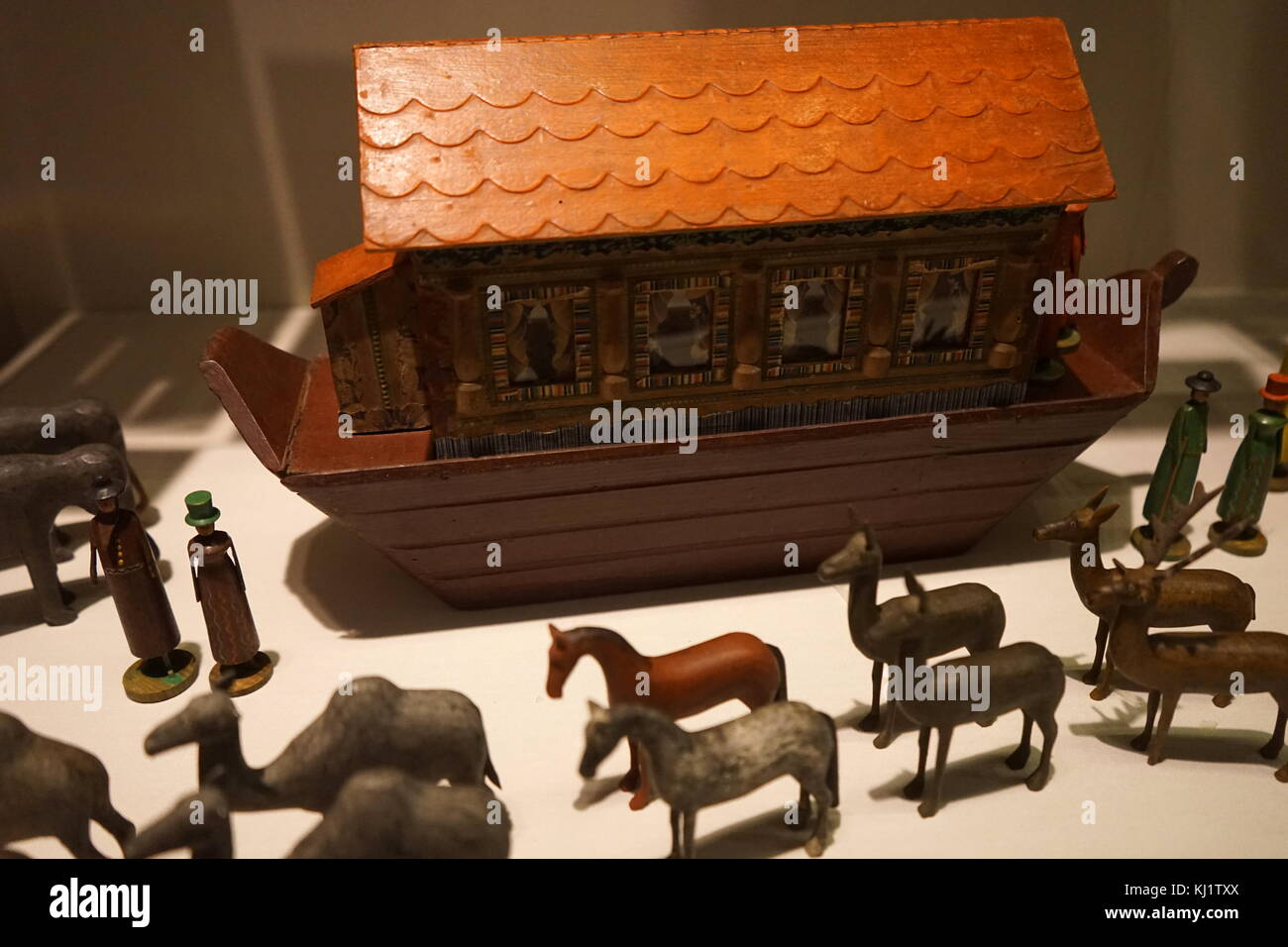 Wooden Figurines Used To Recreate The Story Of Noahs Ark The Stock