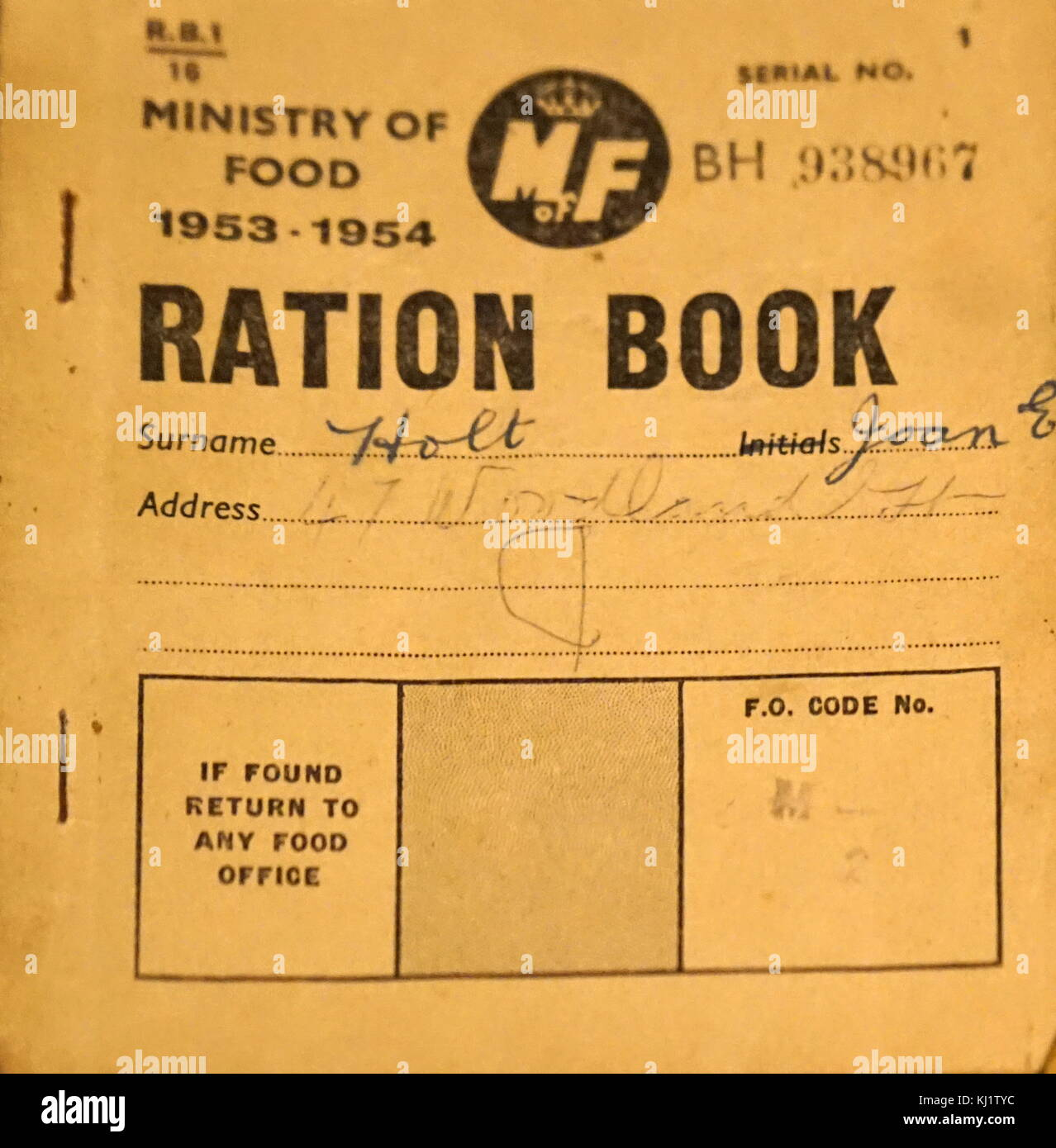 A Second World War Ration Book. Rationing was introduced as a temporary measure by the British government during - Stock Image