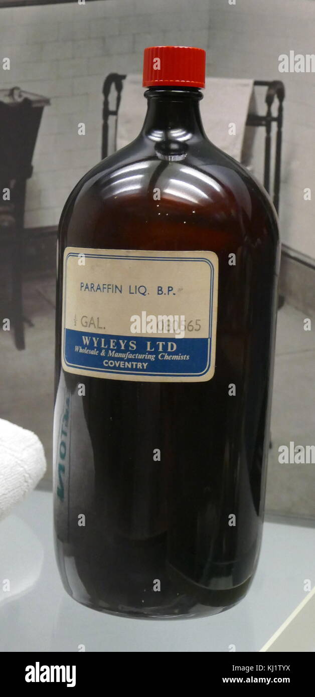 Bottle of Wyleys Ltd Paraffin Liquid. Dated 20th Century - Stock Image