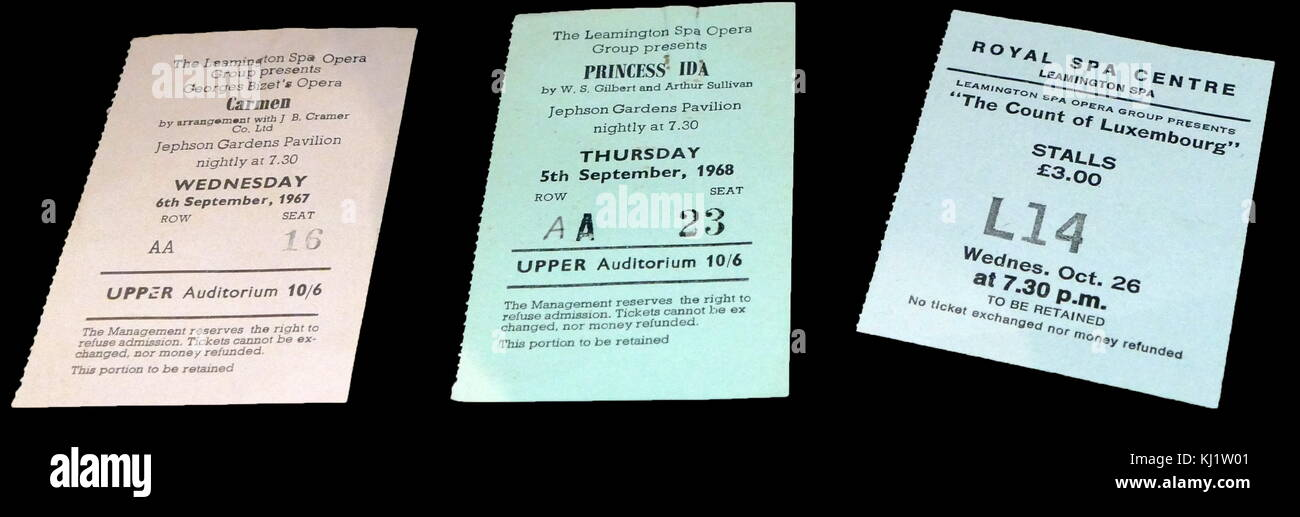Collection of tickets for various operas held at the Jephson Gardens Pavilion and the Royal Spa Centre in Leamington - Stock Image