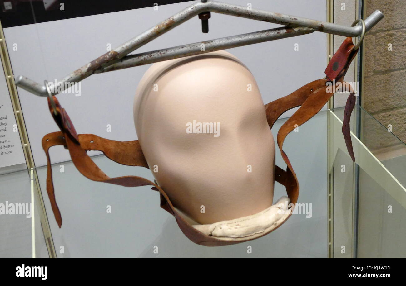 Cervical traction harness and frame used to give traction to a patient's neck whilst weights attached would - Stock Image