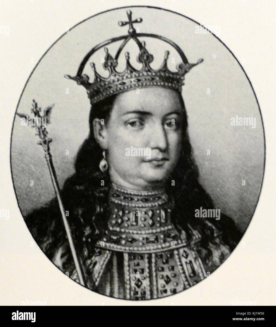 Portrait of Sofia Alekseyevna of Russia (1657-1704) regent of Russia. Dated 17th Century - Stock Image