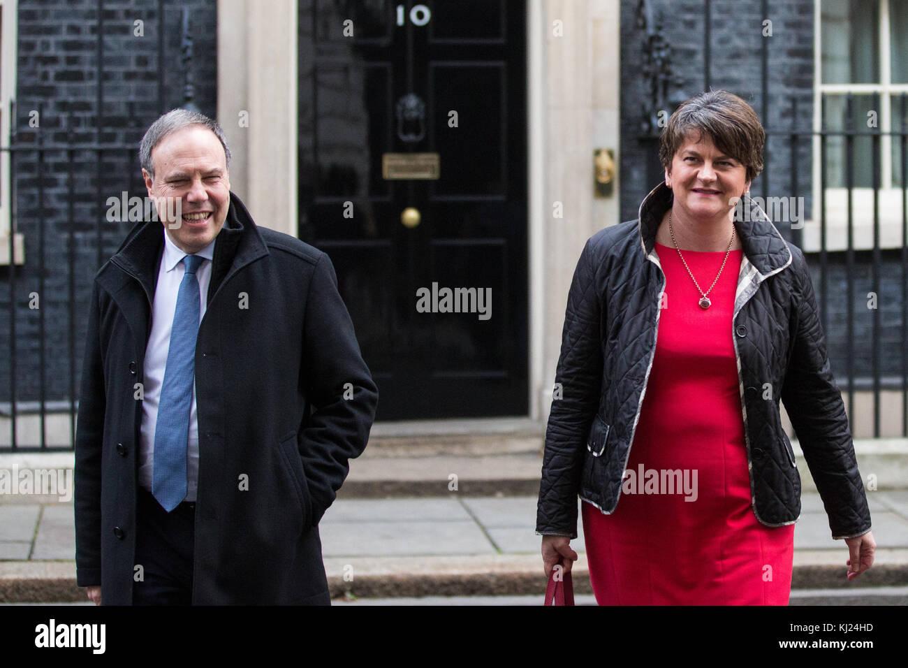 London, UK. 21st November, 2017. DUP leader Arlene Foster and deputy leader Nigel Dodds leave 10 Downing Street - Stock Image