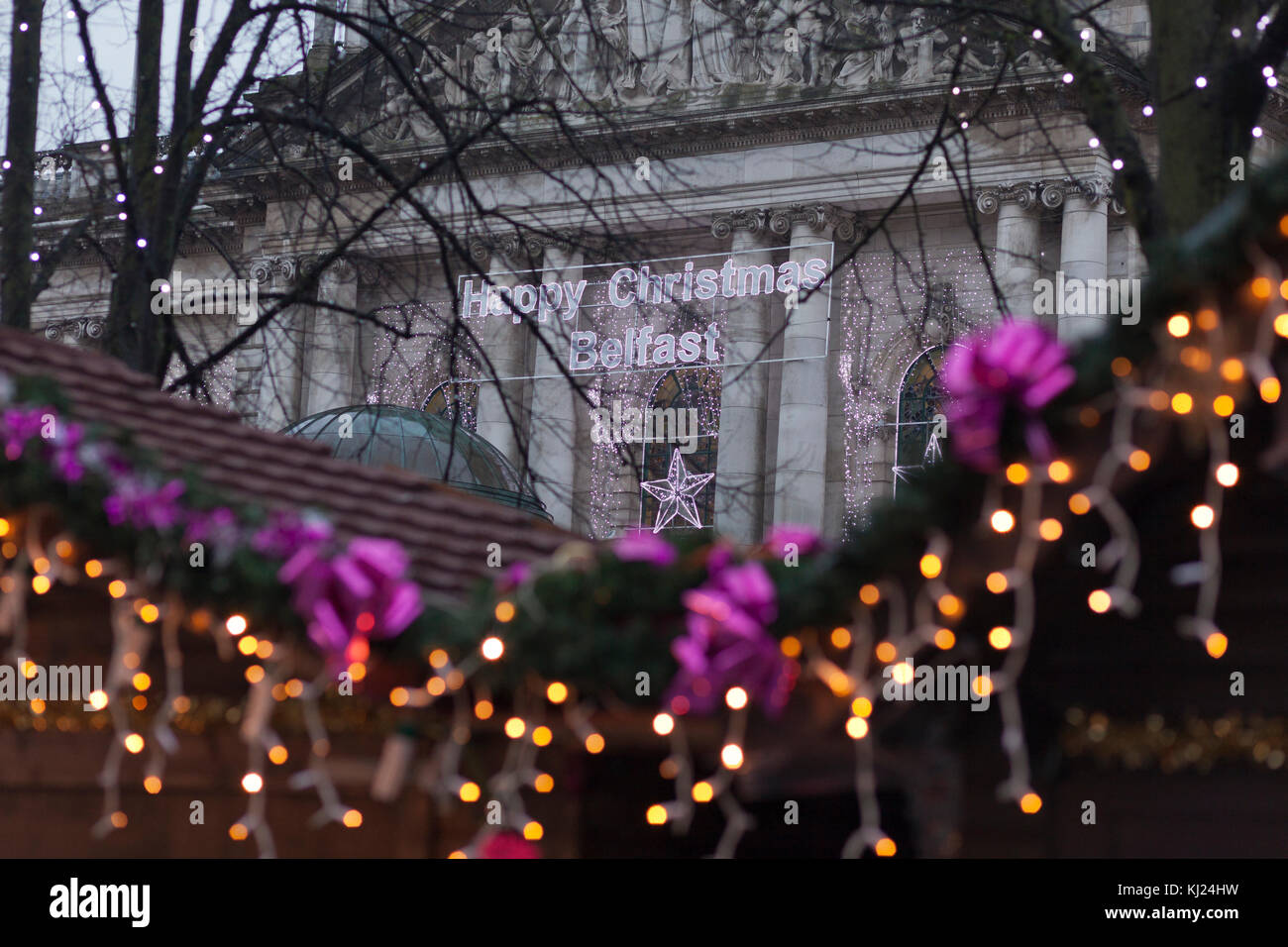 City Hall, Belfast Northern Ireland 21st November 2017. Belfast city council have hung Happy Christmas Decorations - Stock Image