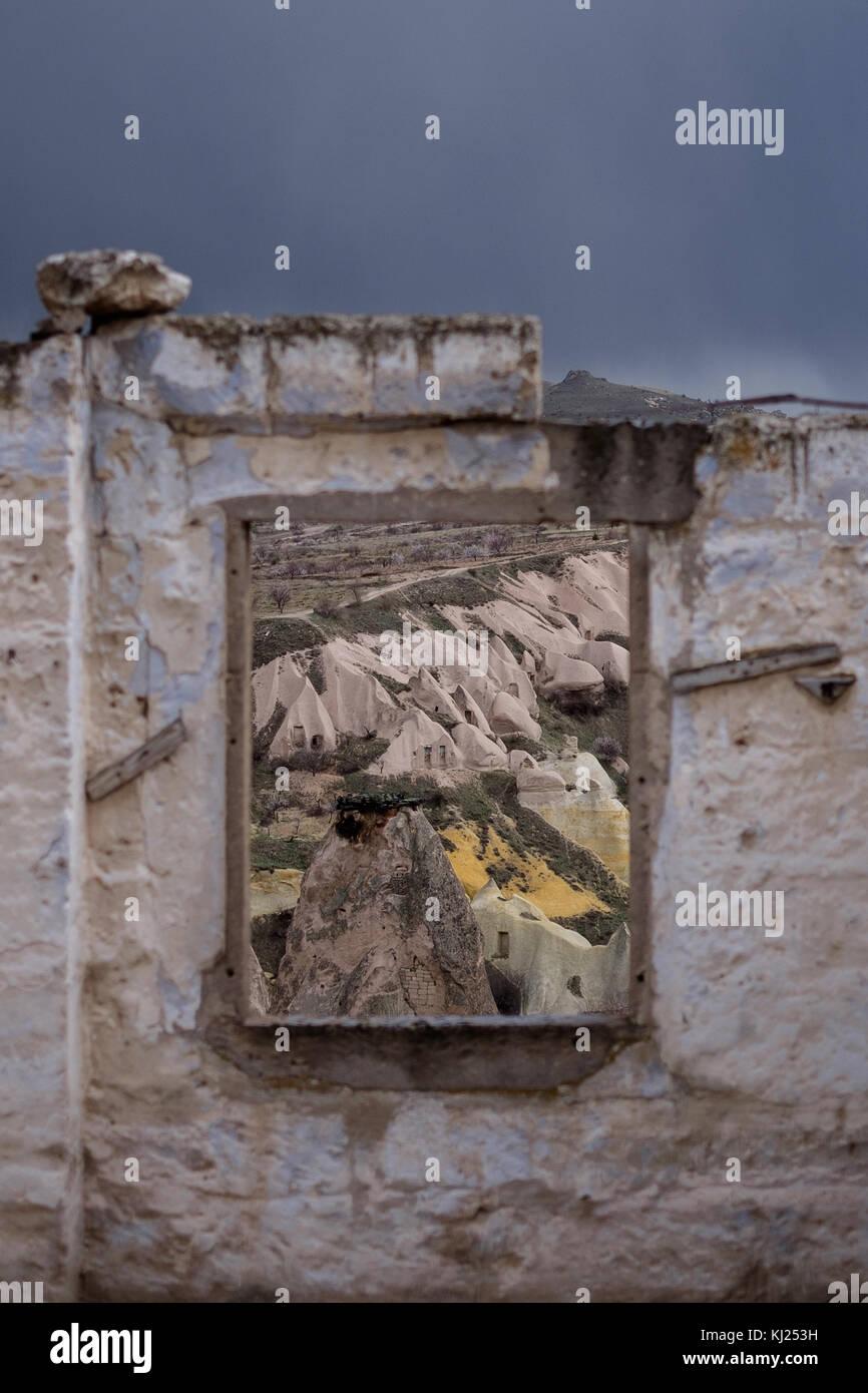 Capadoccia landscape through a window - Stock Image