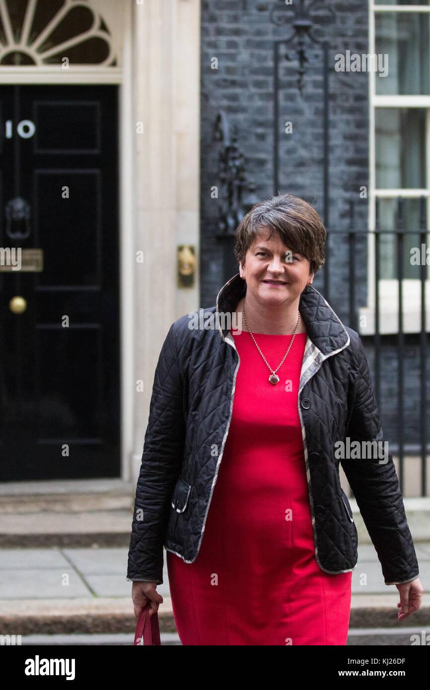 London, UK. 21st November, 2017. DUP leader Arlene Foster leaves 10 Downing Street after meeting Prime Minister - Stock Image