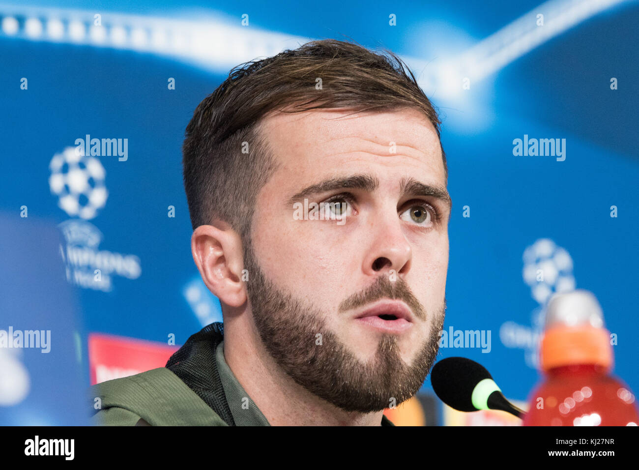 Turin, Italy. 21st Nov, 2017. Miralem Pjanić during the Juventus FC press conference before the Champions League - Stock Image