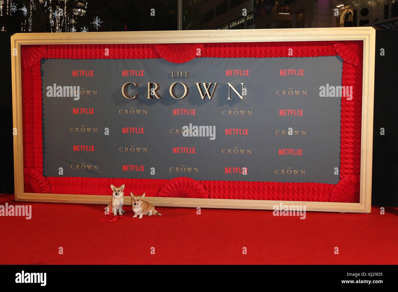 London, UK. 21st Nov, 2017. Corgis, The Crown - Season 2 World Premiere, Leicester Square, London, UK. 21st Nov, Stock Photo