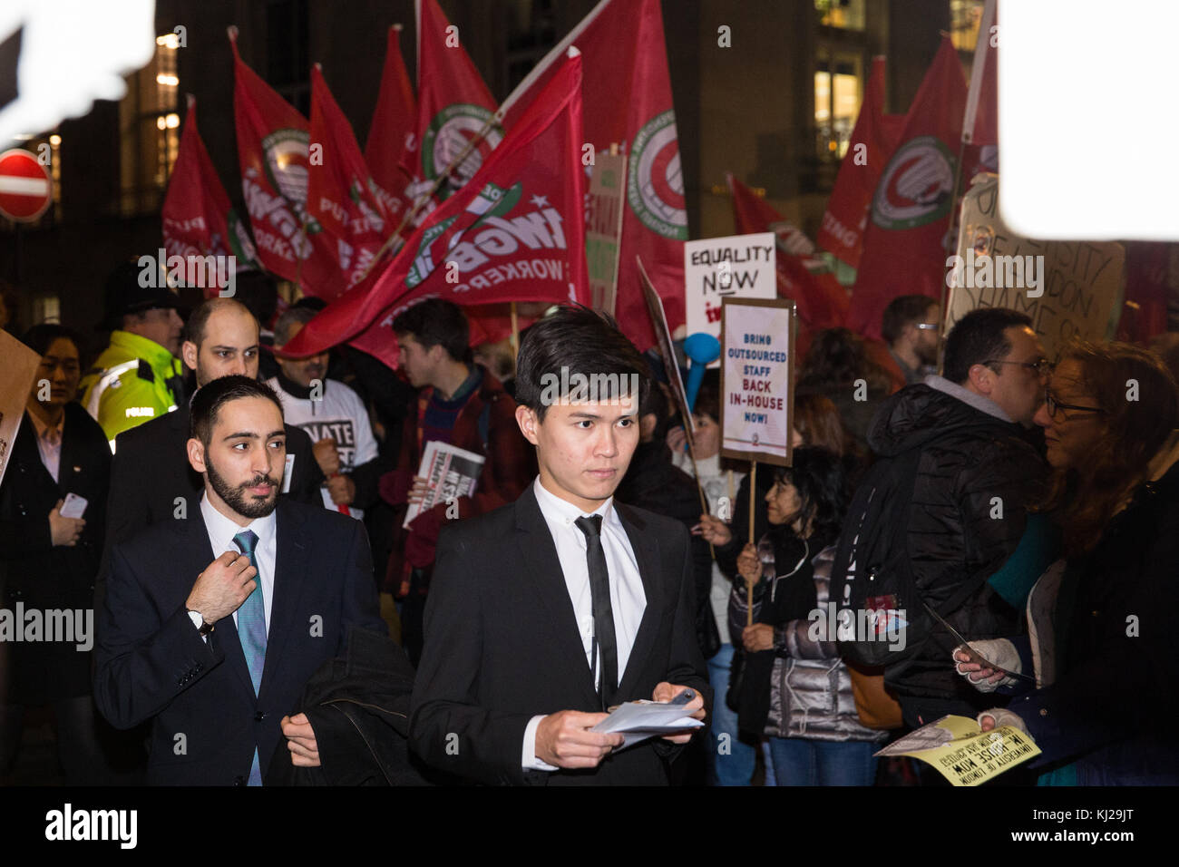 London, UK. 21st November, 2017. Outsourced workers belonging to the IWGB trade union and supporters protest outside - Stock Image