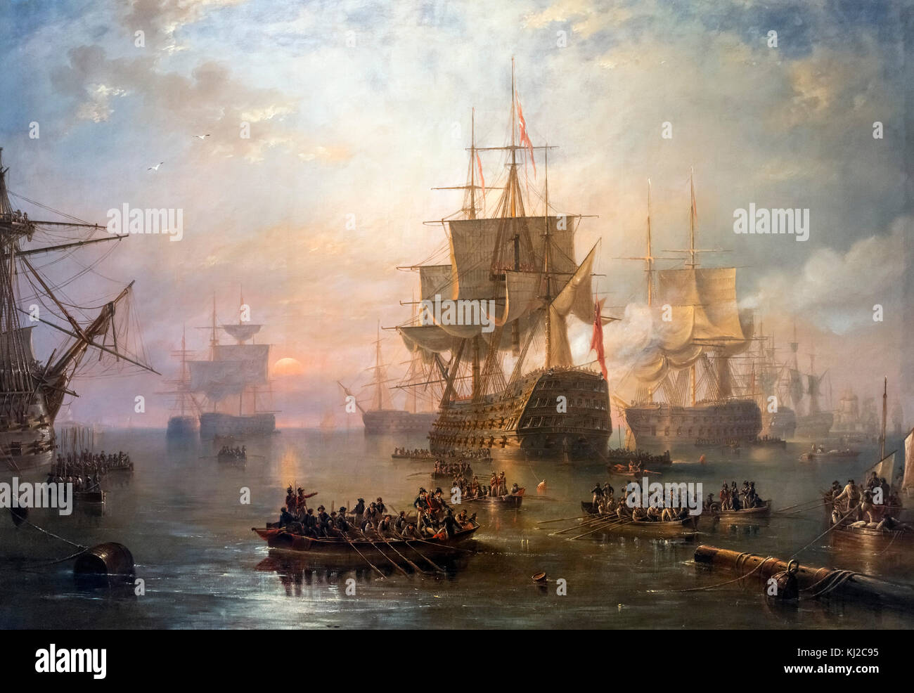 'HMS Victory off the Isle of Wight' by John Winston Carmichael, oil on canvas, 1847. The painting shows - Stock Image