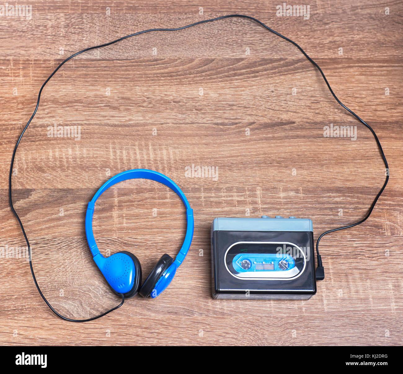 Vintage walkman and headphones - Stock Image