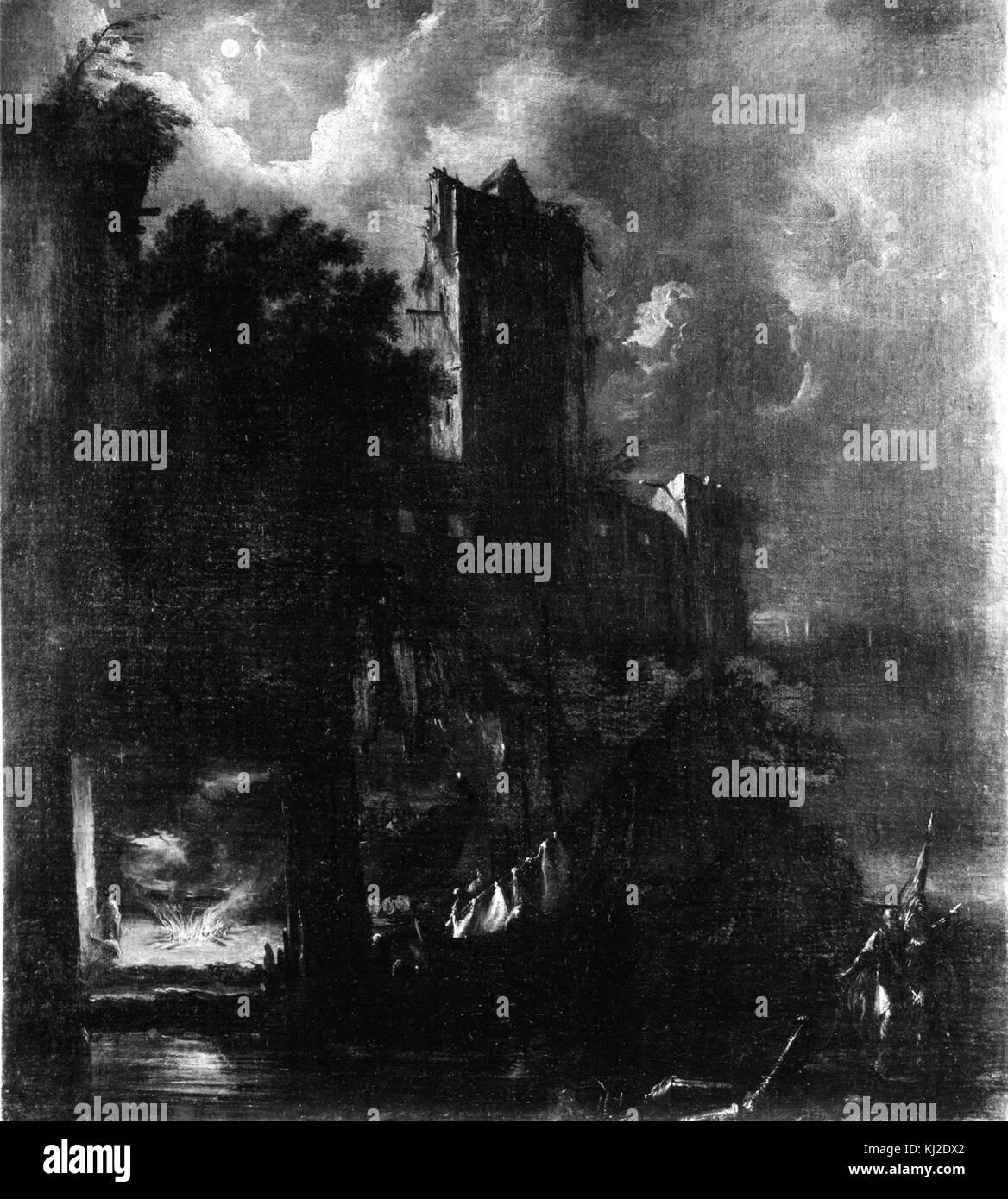 Bartolomeo Pedon - Moonlit Landscape with Ruined Castle - Walters 37348 - Stock Image