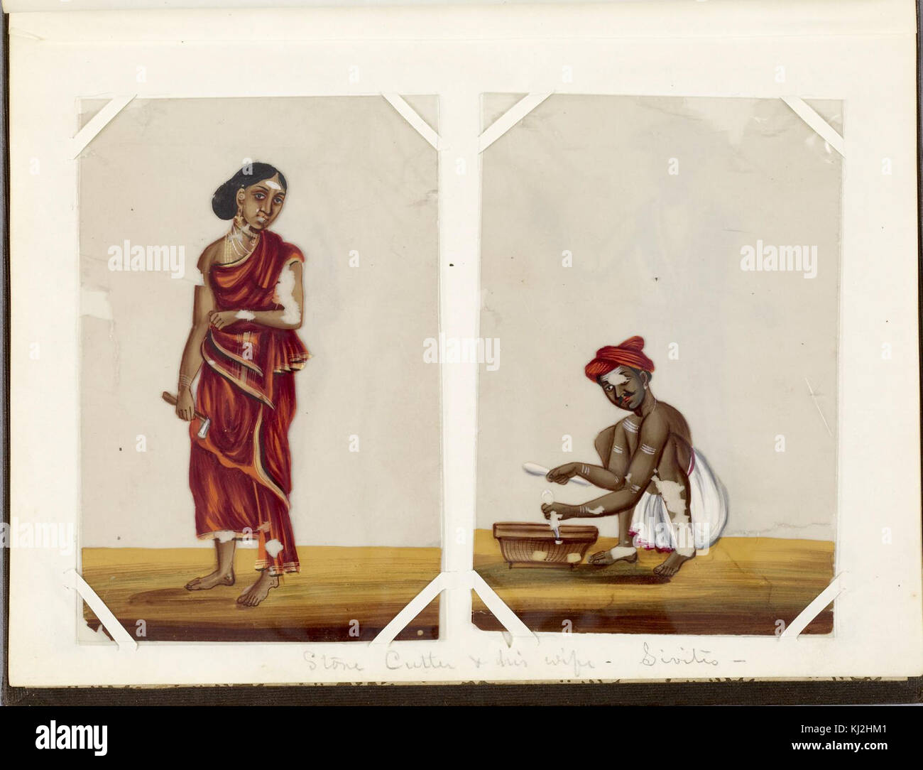 Indian - Leaf from Bound Collection of 20 Miniatures Depicting Village Life - Walters 35176D Stock Photo