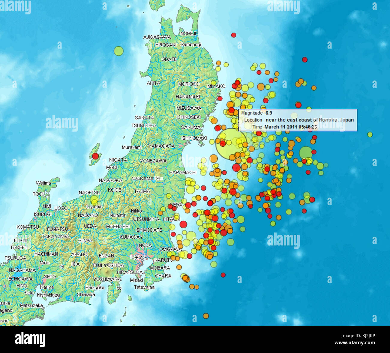 Map of Sendai Earthquake 2011 Stock Photo 166015690 Alamy