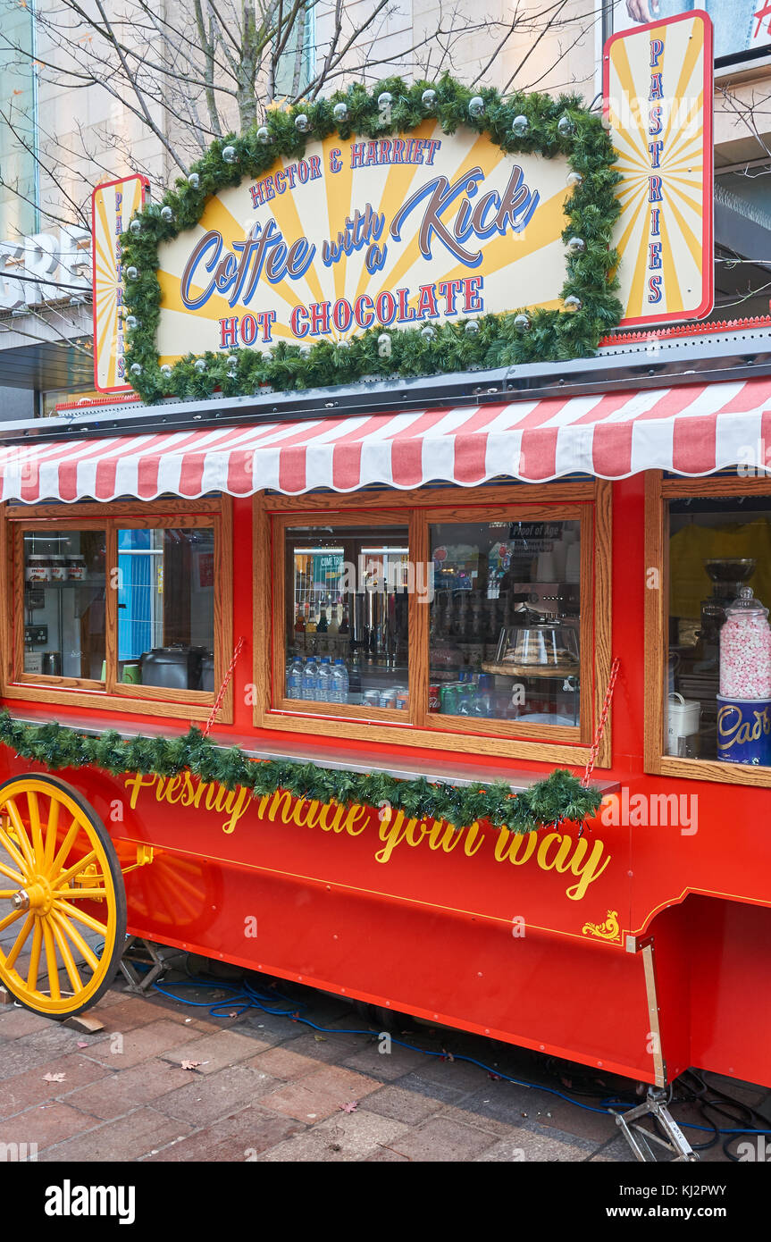 Glasgow, UK - 15 November 2017 - A stall selling food and drinks on a Christmas market - Stock Image