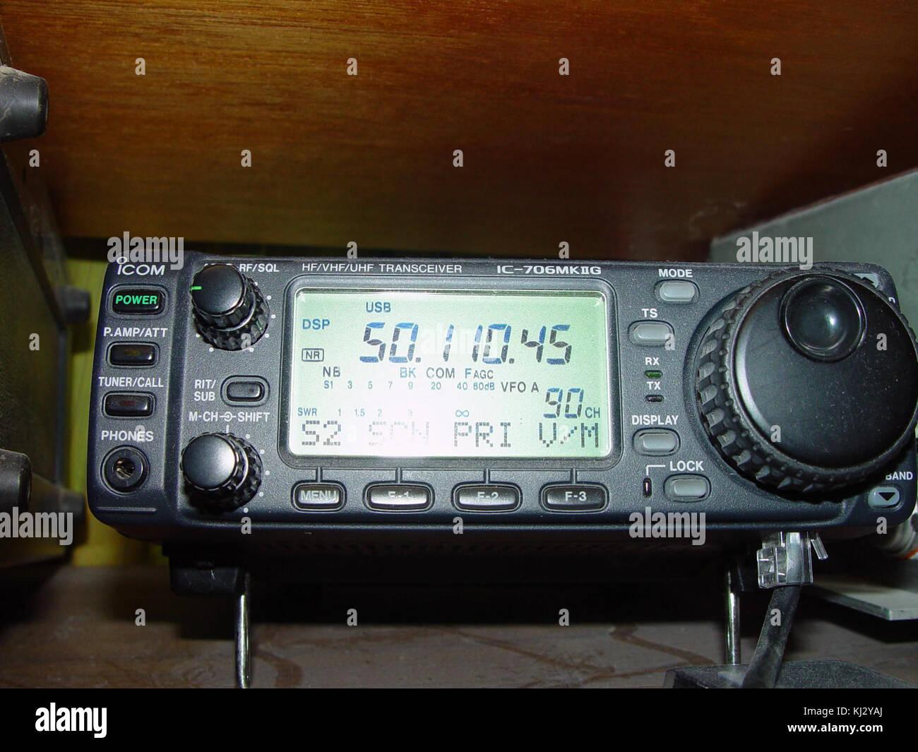 Icom ic 706mk8g hf vhf uhf trans receiver Stock Photo