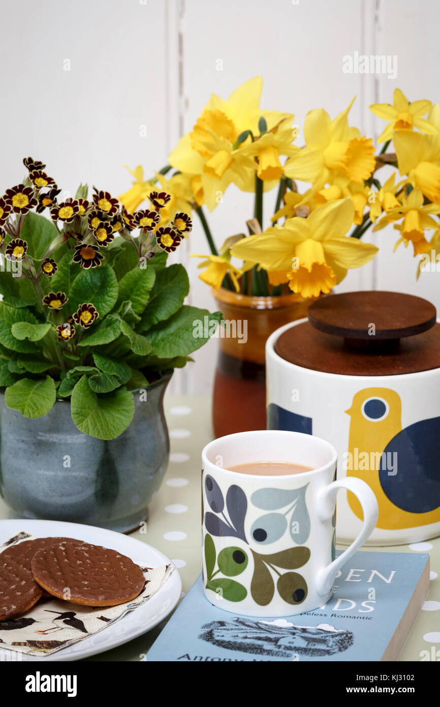 Afternoon tea and biscuits in a sunny spring home - Stock Image