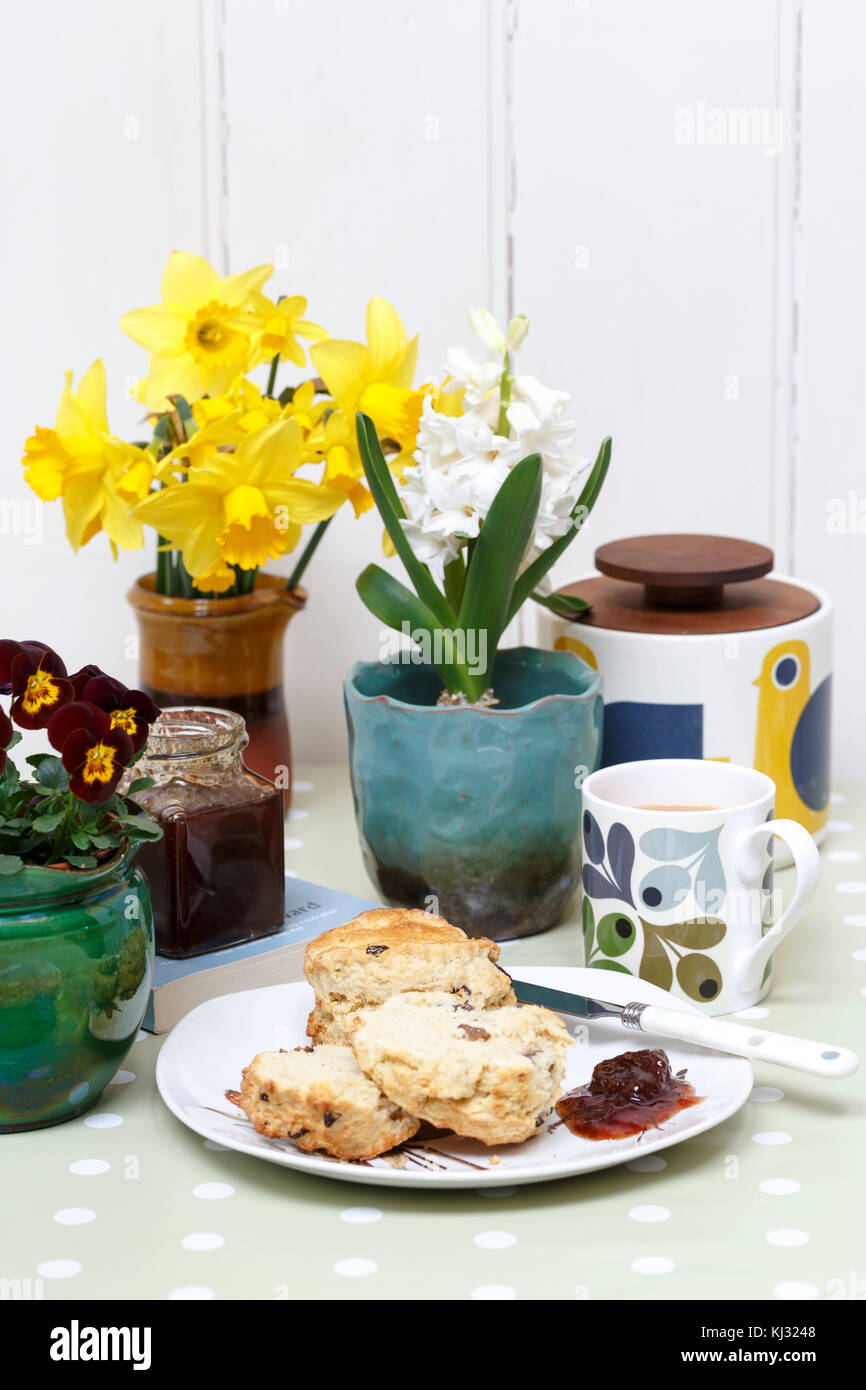 Afternoon tea with scones in a sunny spring home - Stock Image