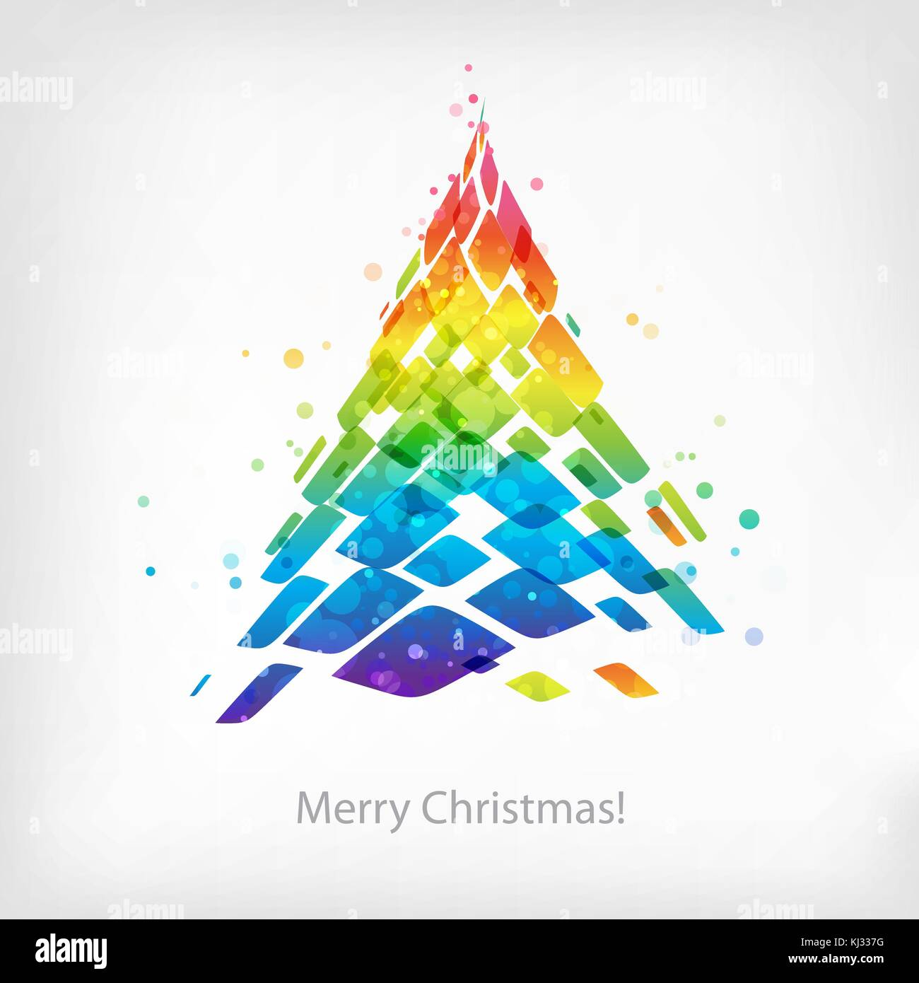 Vector colorful Christmas card, multicolored spruce isolated on white background - Stock Vector