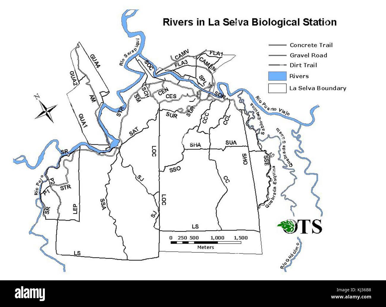 Rivers in La Selva Biological Station, Costa Rica - Stock Image