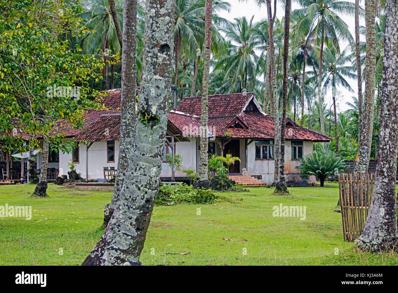 Colonial plantation house in Tamanyaya, western Java, Indonesia - Stock Image