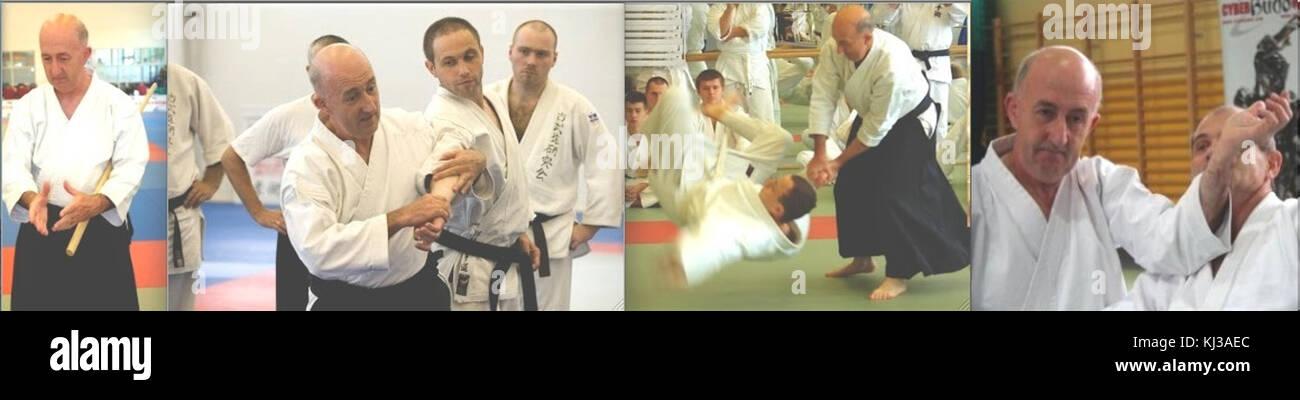 Alan Ruddock demonstrates Aikido techniques Stock Photo: 166031220