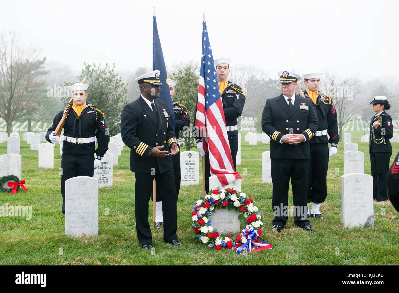 Rear Admiral Grace Hopper honored at Arlington National Cemetery (23312862359) - Stock Image