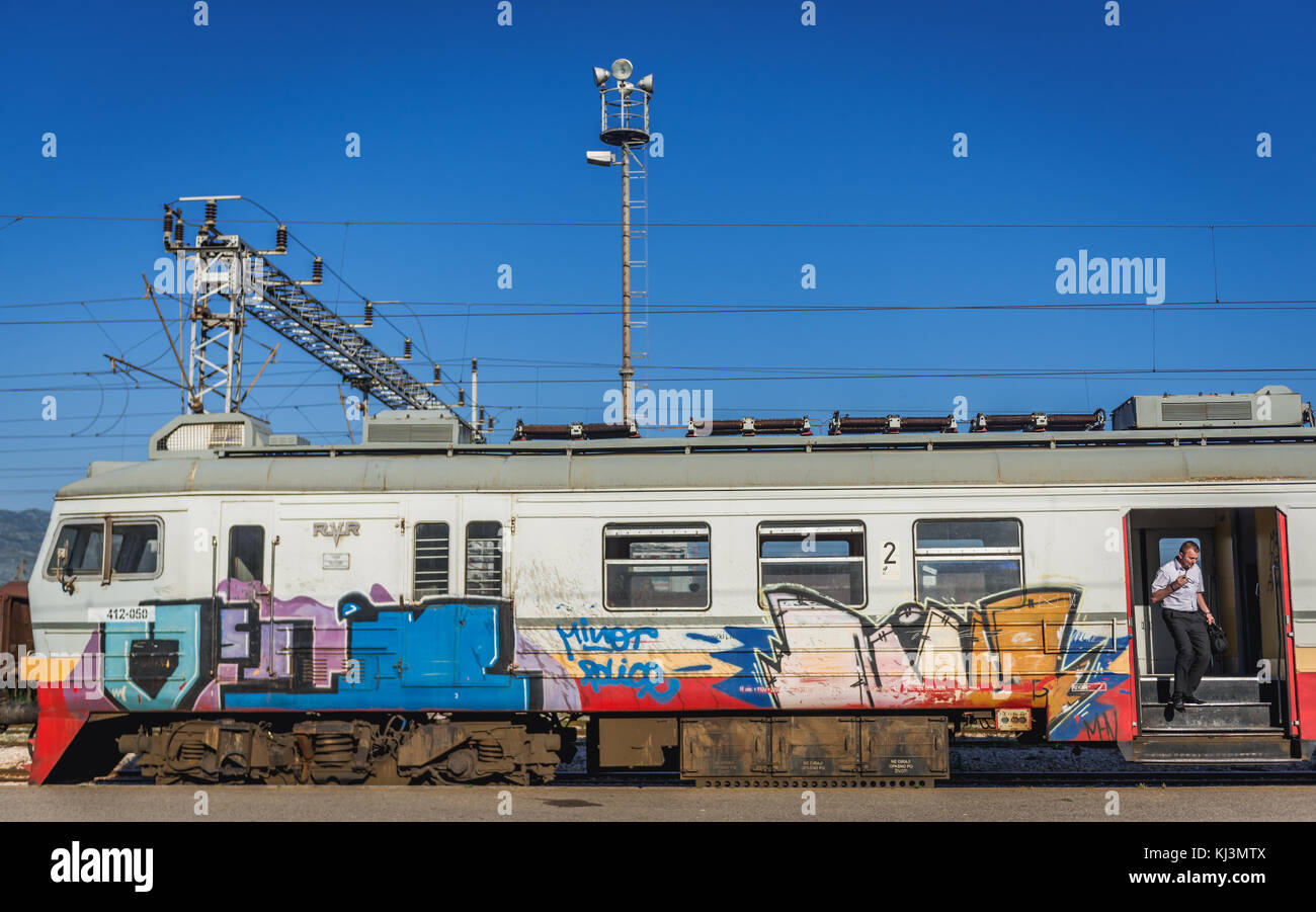 RVR Electric Multiple Unit on a railway station in Podgorica, capital city of Montenegro - Stock Image