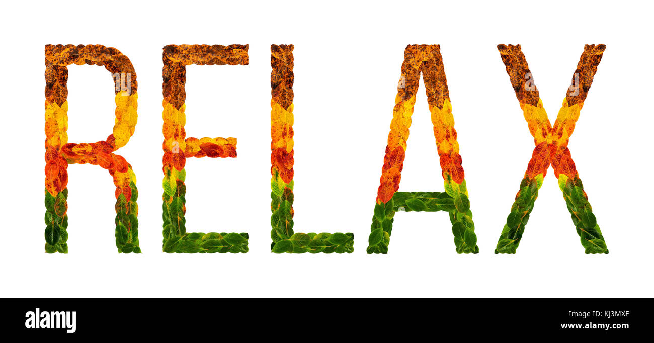 Word Relax Written With Leaves White Isolated Background Banner For Printing Creative Illustration Of Colored