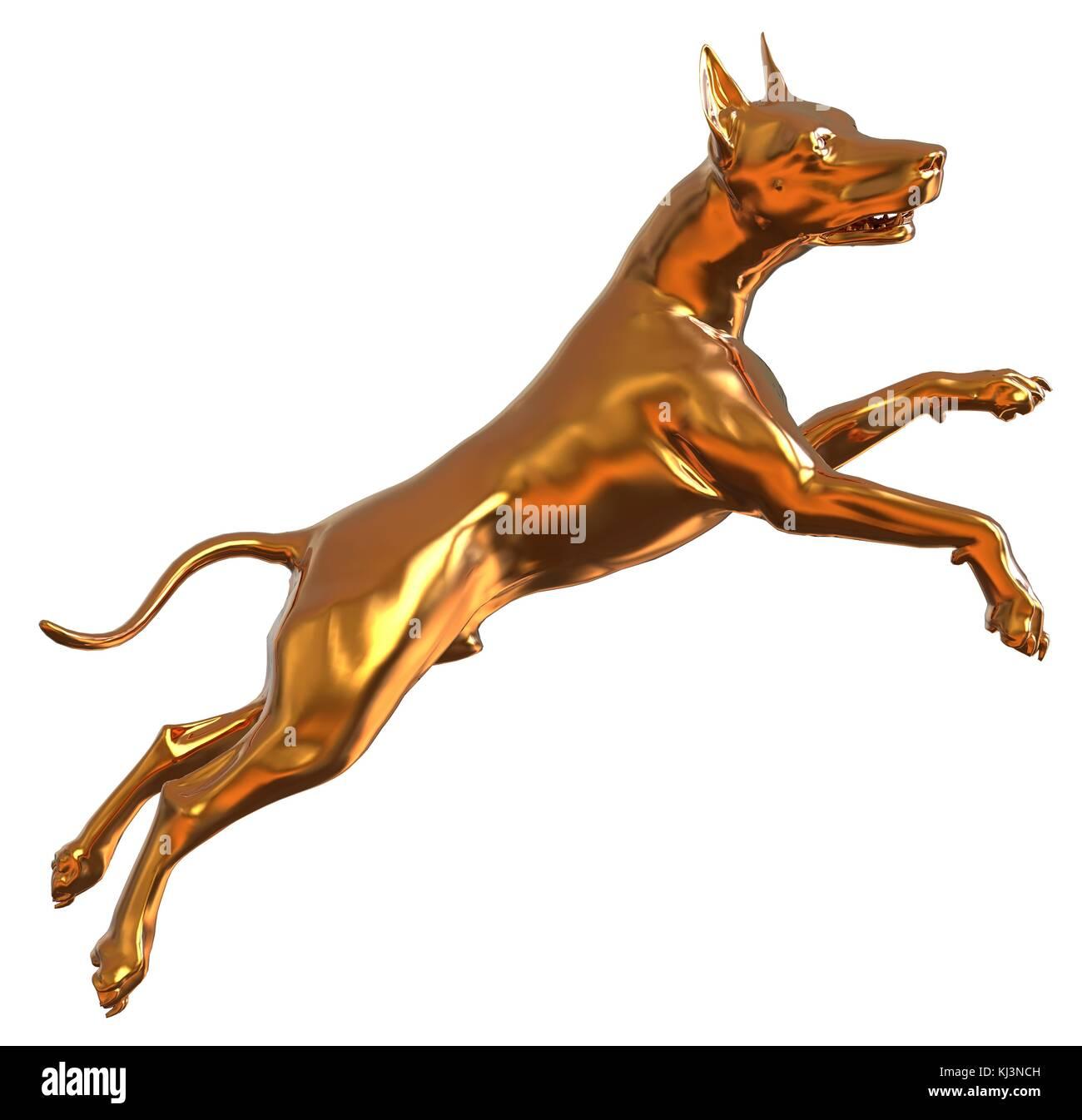 Golden Yellow Dog 3D Illustration Isolated On White - Stock Image