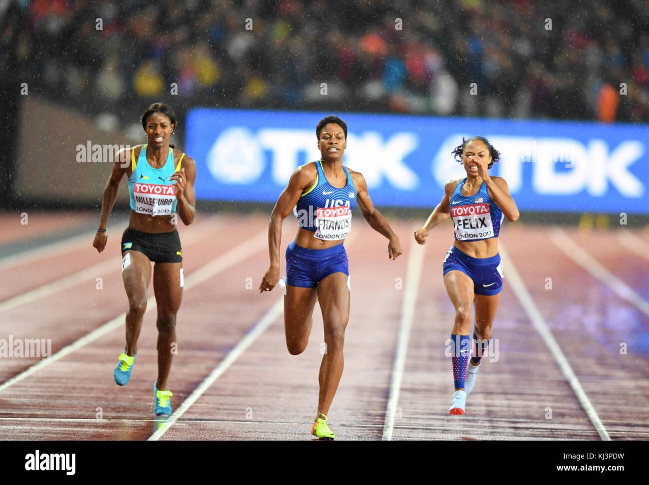 Phillys Francis (USA) wins the 400m women, alonside Allyson Felix (USA)  and Shaunae Miller-Uibo (Bahamas) - IAAF - Stock Image