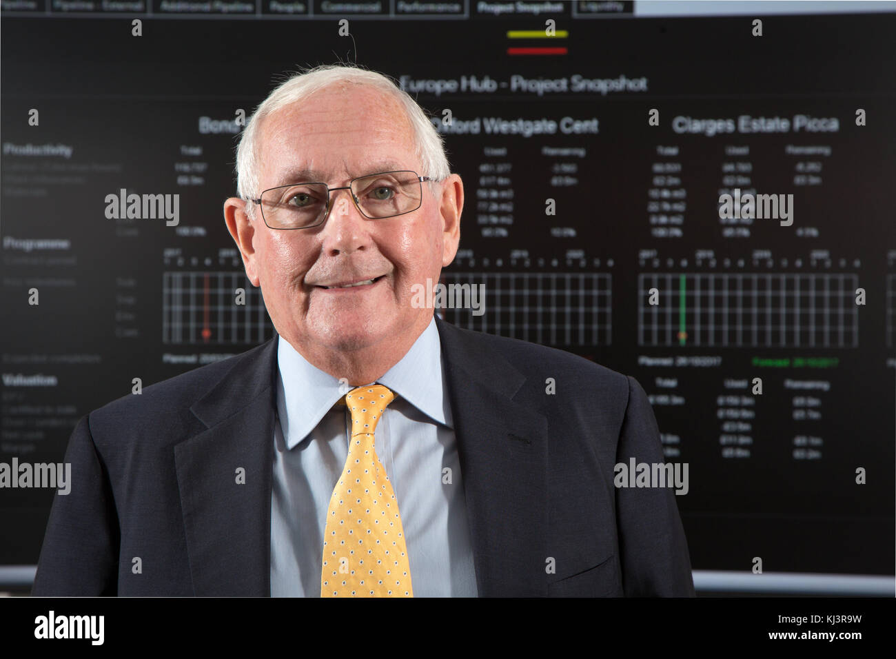 Ray O'Rourke, Chief Executive of construction company Laing O'Rourke. Photographed in front of data projected from Stock Photo