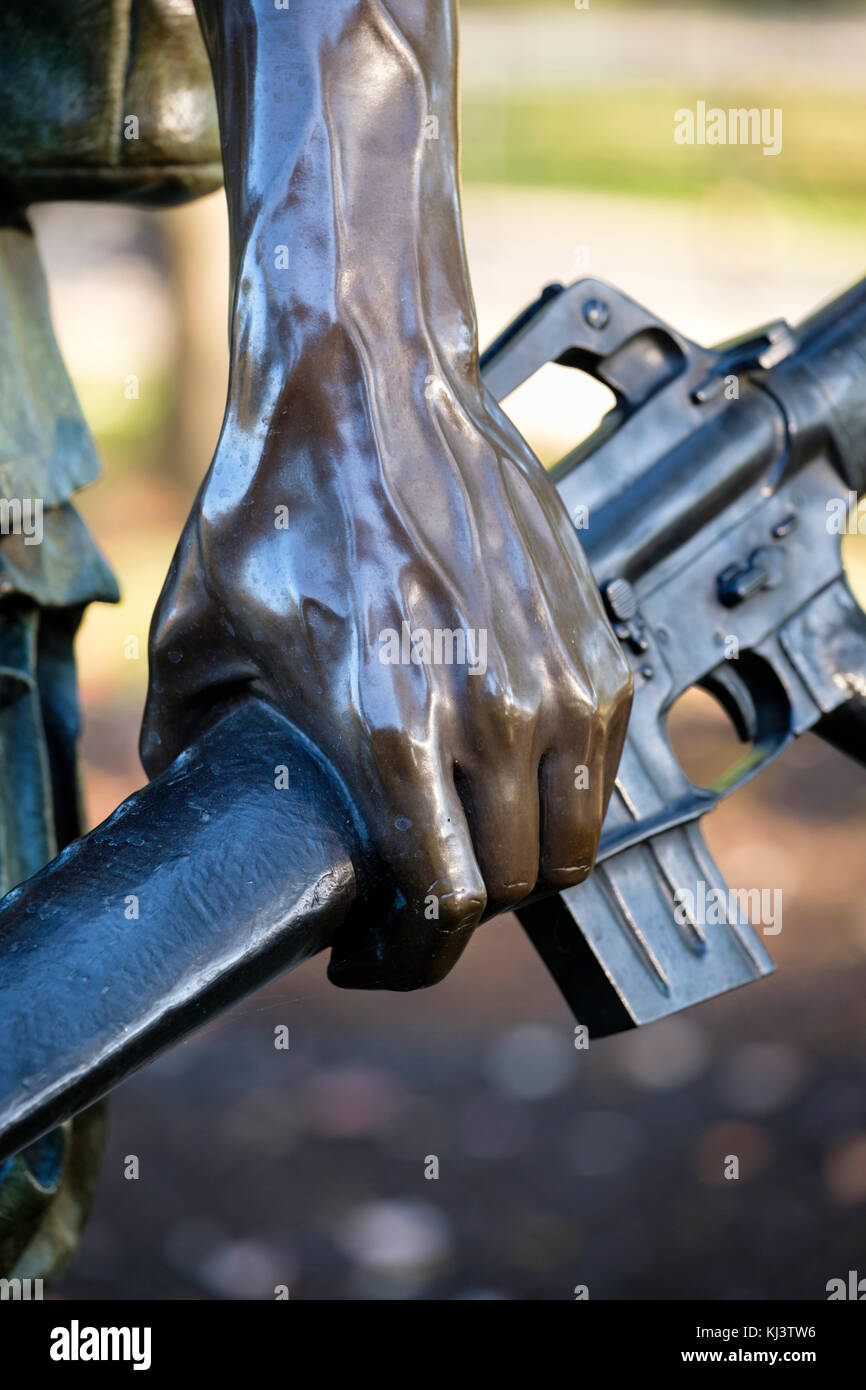 Detail of The Three Soldiers (The Three Servicemen) statue, Vietnam Veterans Memorial, National Mall, Washington, - Stock Image
