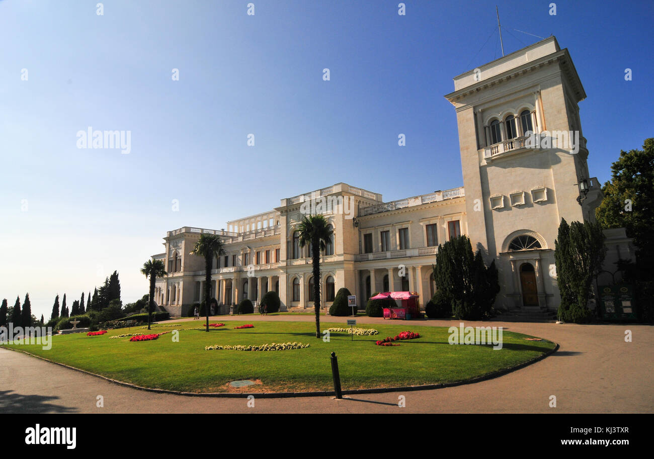 Livadia Palace, Crimea, Ukraine. A summer retreat of the last Russian tsar, Nicholas II, and his family in Livadiya, - Stock Image