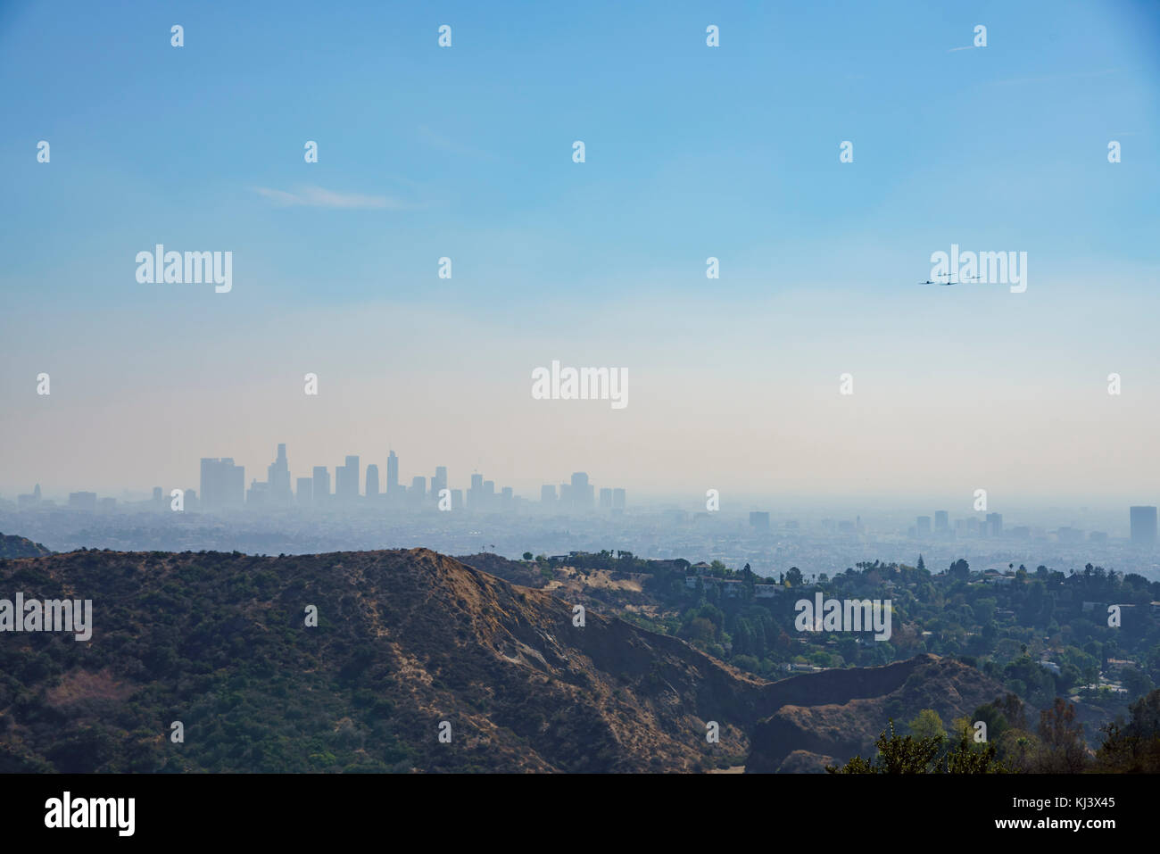 Veteran's Day US Army Performance with T-6 Texan, saw on Hollywood sign trail at Hollywood, California, United - Stock Image