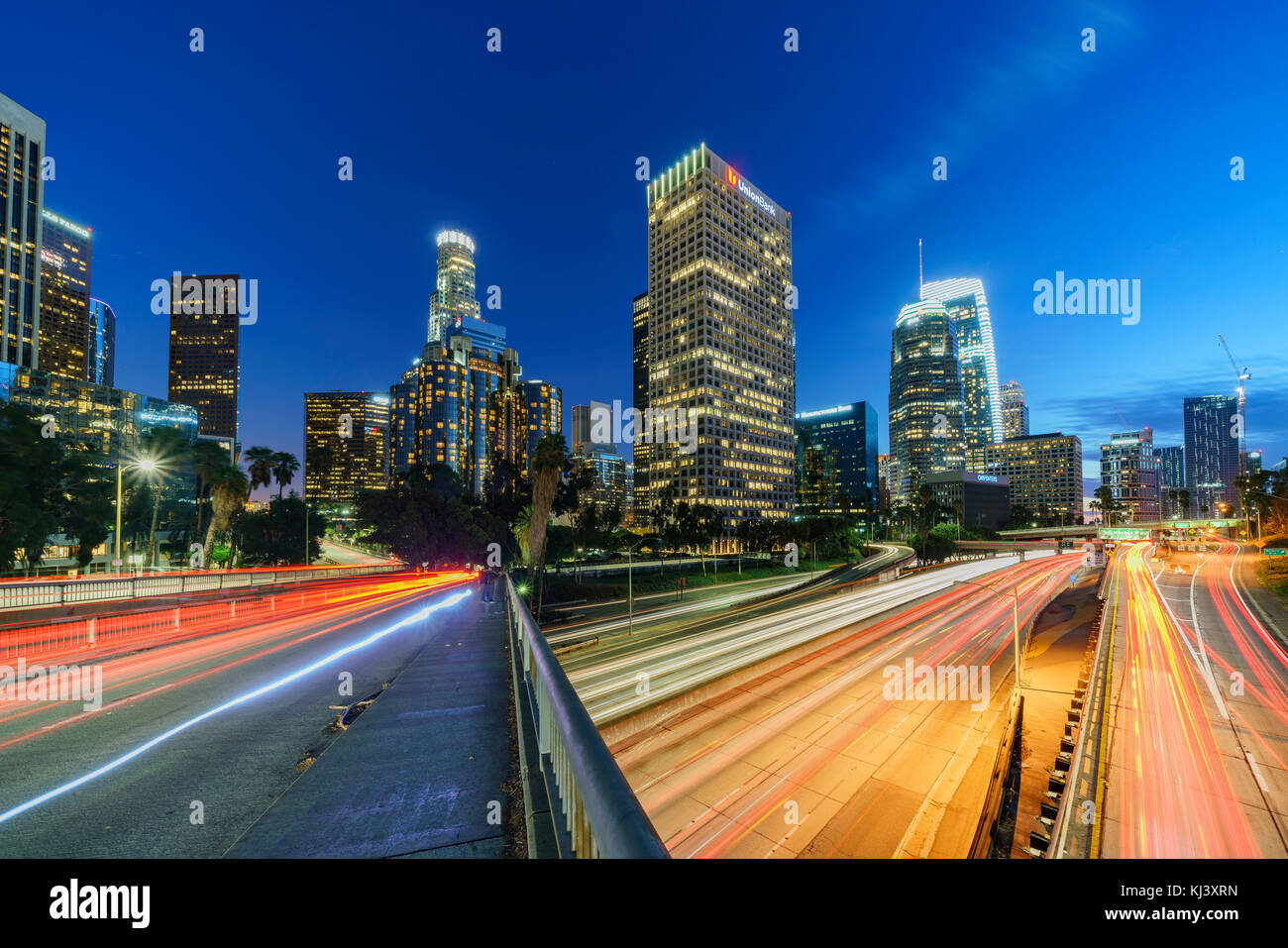 Los Angeles, NOV 5: Classical nightscape skyline of Los Angeles downtown on NOV 5, 2017 at California, United States - Stock Image